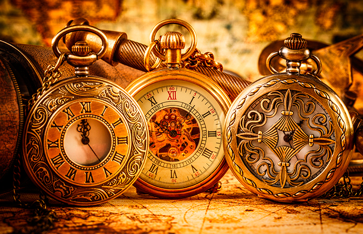 3 old-fashioned pocket watches
